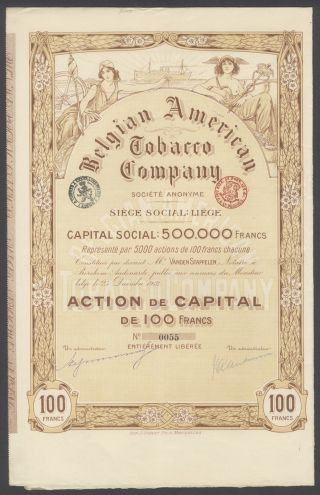 Belgium 1912 Illustrated Bond With Coupons Belgian American Tobaccco Co.  R4037 photo