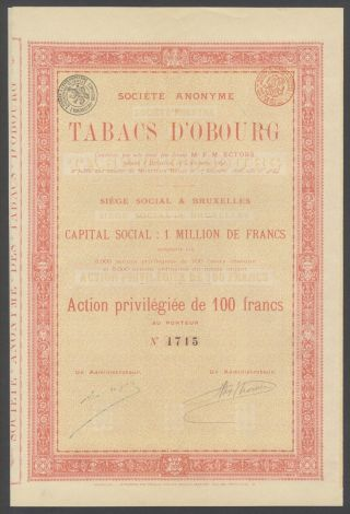 Belgium 1898 Ornate Bond With Coupons Tabacs D ' Obourg Tobacco. .  R4044 photo