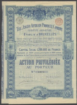 Belgium 1898 Illustrated Bond Anglo African Produce Co - Tabac Tobacco.  R4032 photo