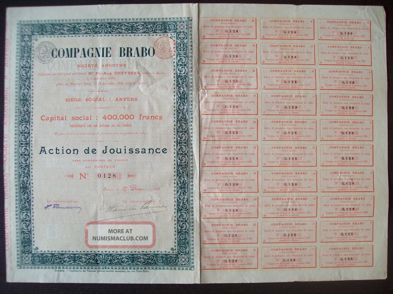 Belgium 1898 Bond With Coupons Compagnie Brabo Anvers - Tabac Tobacco.  R4040 World photo
