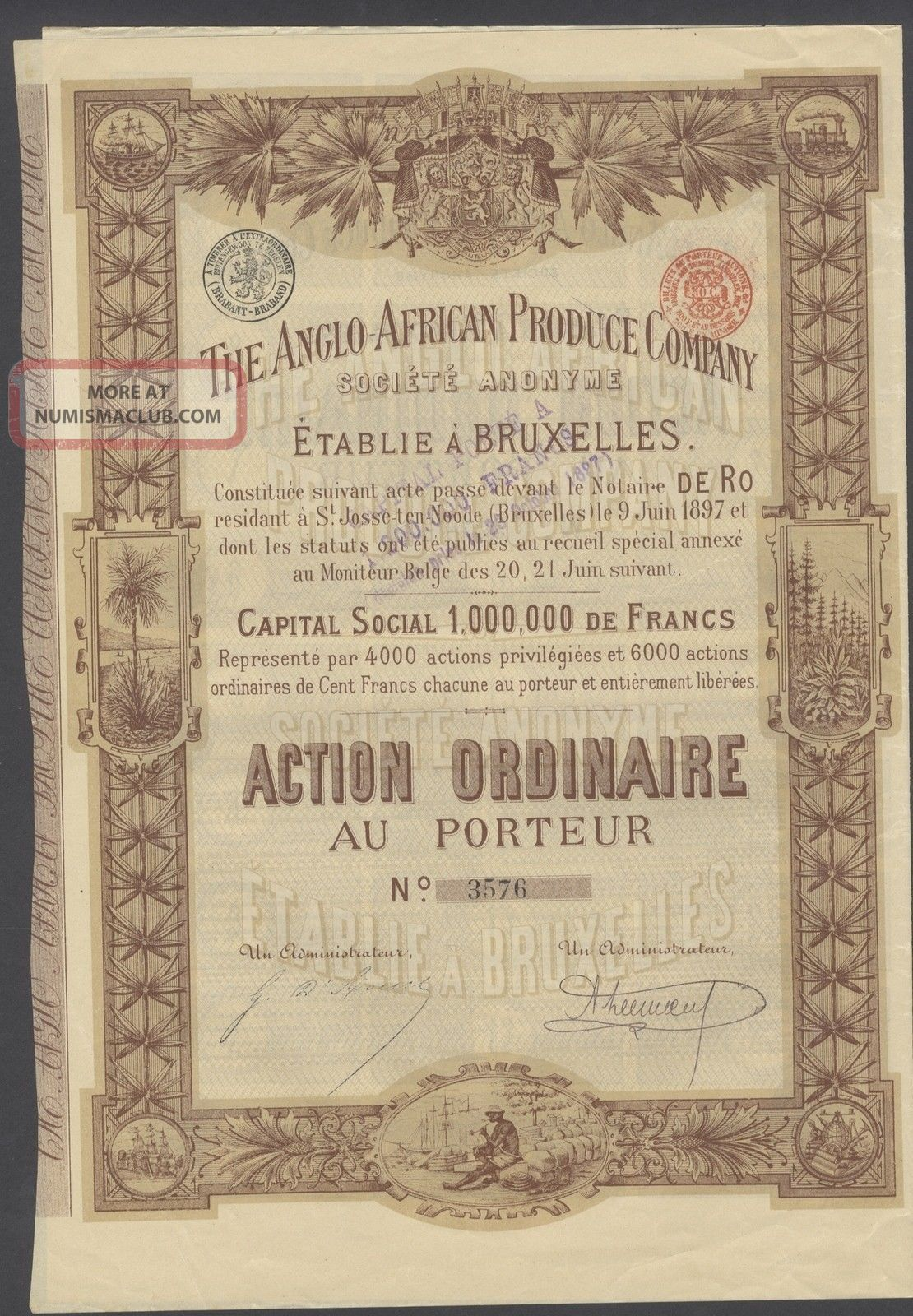 Belgium 1897 Illustrated Bond Anglo African Produce Co - Tabac Tobacco.  R4033 World photo