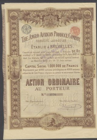 Belgium 1897 Illustrated Bond Anglo African Produce Co - Tabac Tobacco.  R4033 photo