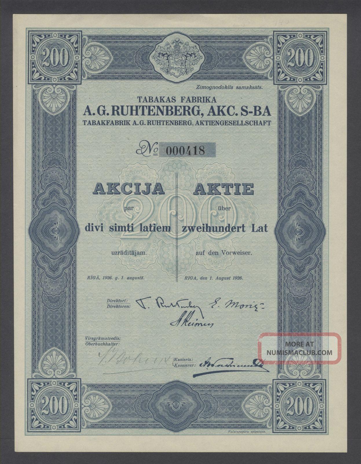 Latvia Bond 1926 A.  G.  Ruhtenberg Akc.  S - Ba Tabakfabrik Riga. .  B1563 World photo