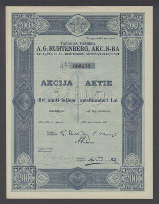 Latvia Bond 1926 A.  G.  Ruhtenberg Akc.  S - Ba Tabakfabrik Riga. .  B1563 photo