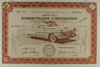 S820 Kaiser - Frazer Corporation 1947 Stock Certificate Brown photo