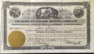 1930 Gilbert Standard Mining Co.  [gold] 12,  500 Shares; Ely Nevada photo