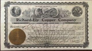 1907 Rickard - Ely Copper Company,  100 Shares,  Phoenix Arizona & Goldfield Nevada photo