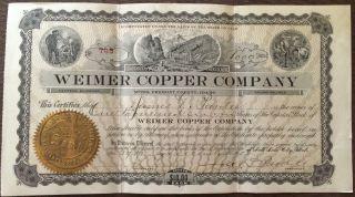 1908 Weimer Copper Company,  Idaho Mine - $10,  000 Face - Salt Lake City Utah photo