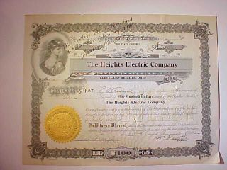 1922 Heights Electric Stock Certificate Signed By President Cleveland Heights Oh photo