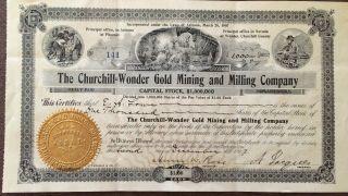 1907 Churchill Wonder Gold Mining & Milling Co.  $1,  000 Shares,  Arizona & Nevada photo