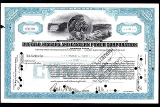 1927 Buffalo,  Niagara And Eastern Power Corporation Stock Certificate photo