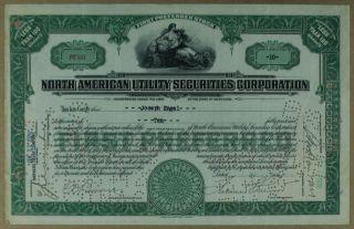 S1146 North American Utility Securities Corporation 1920s Stock Certificate photo