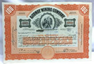 Ojibway Mining Company Stock Certificate 100 Shares Michigan Abnc Issued 1928 photo
