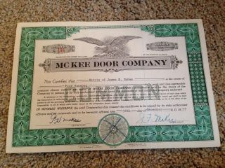 Mckee Door Company Common Stock Certificate Aurora Il Issued 1959 photo & Stocks \u0026 Bonds Scripophily - Price and Value Guide