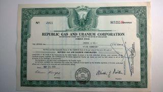 Republic Gas And Uranium Corporation,  Stock Certificate,  1956,  Delaware photo