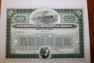 1926 International Mercantile Marine Stock Certificate Titanic Type 4 Green photo