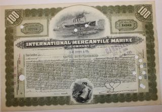 1919 International Mercantile Marine Stock Certificate Titanic Type 3 Olive Gr photo