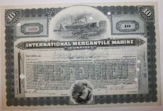1919 International Mercantile Marine Stock Certificate Titanic Type 2 Blue photo