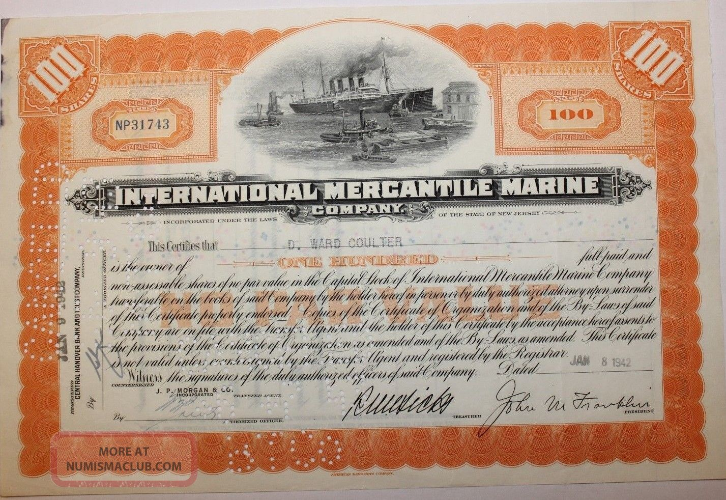 1942 International Mercantile Marine Stock Certificate Titanic No Cancels On Vig Transportation photo