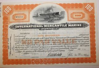 1942 International Mercantile Marine Stock Certificate Titanic No Cancels On Vig photo