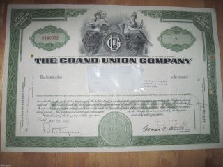 The Grand Union Company Stock Certificate 1961 1 Share photo