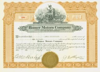 1915 Auto Stock Certificate - Homer Motors Company - Arizona photo