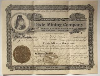 1906 Stock Certificate - Dixie Mining Co,  Goldfield,  Nv,  500 Shares (esmeralda) photo