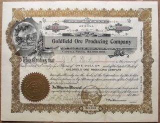 1905 Stock Certificate - Goldfield Ore Producing Co (nevada Mining) Vignette photo