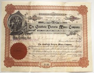 1906 Stock Certificate - The Goldfield Victoria Mines Co,  Nevada Mining Vignette photo