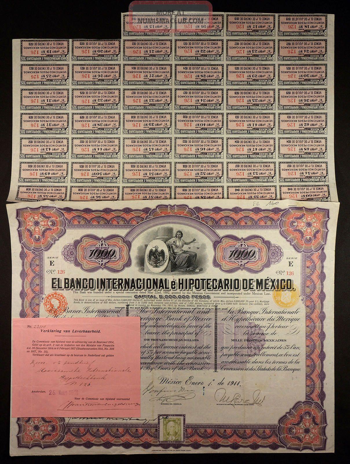 Mexico 1911 banco internacional hipotecario de m xico for Banco internacional
