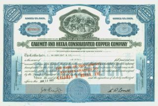 1953 Stock Certificate - Calumet And Hecla Consolidated Copper Company,  Blue photo