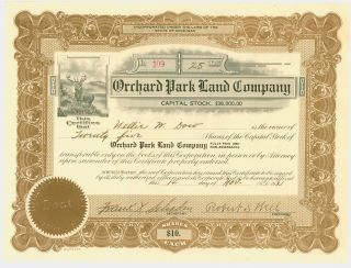 1921 Stock Certificate - Orchard Park Land Company,  Detroit Michigan photo