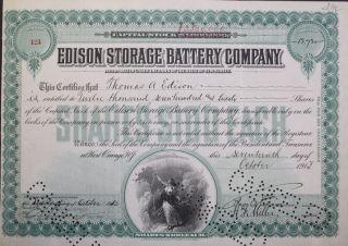 Thomas A Edison Signed Edison Storage Battery Company Stock Certificate 1913 photo