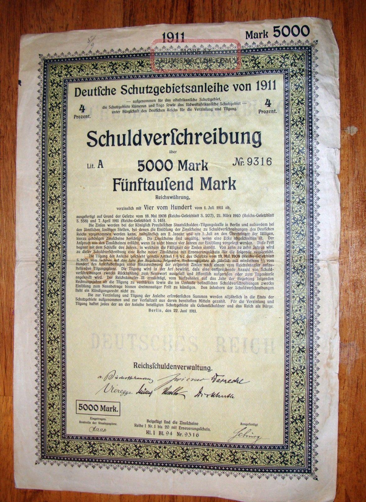 Deutfche Schutzgebietsanleihe Von 1911 5000 Mark Certificate World photo