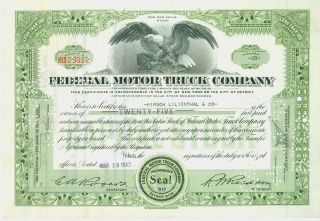 1943 Federal Motor Truck Company Stock Certificate - photo