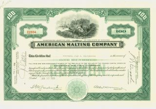 1936 Green Stock Certificate - American Malting Company photo