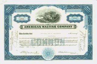 1936 Blue Stock Certificate - American Malting Company photo