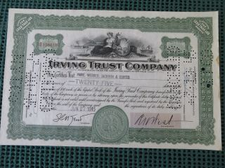 Irving Trust Company Stock Certificate York 25 Shares photo