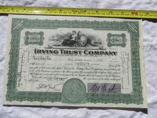 Irving Trust Company Stock Certificate York 20 Shares photo