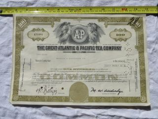 The Great Atlantic & Pacific Tea Company Stock Certificate York 100 Shares photo