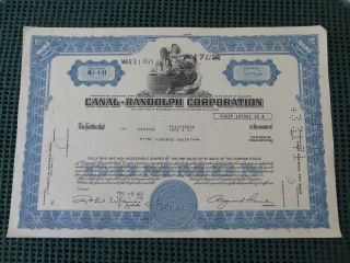 Canal - Randolph Corporation Stock Certificate York 170 Shares photo