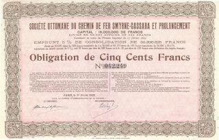 Share With Coupon Societe Ottomane Du Chemin De Fer Smyrne Cassaba 1922 photo