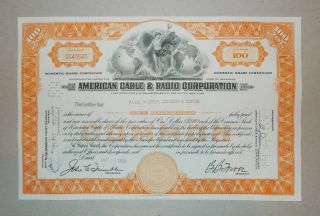 1959 American Radio And Cable Corporation Old Stock Certificate photo