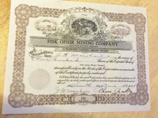 1928 Stock Certificate Fisk Ophir Mining Co.  Utah 500 Shares photo