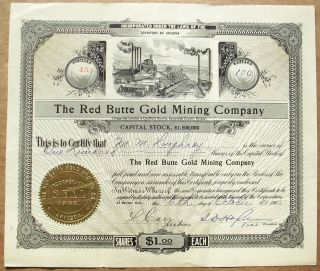 1905 Stock Certificate - The Red Butte Gold Mining Co (goldfield,  Nevada Mines) photo