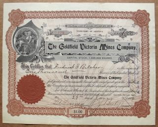 1906 Stock Certificate - The Goldfield Victoria Mines Co,  Nevada Mining photo
