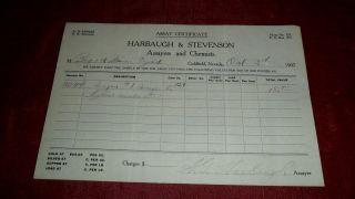 1907 Harbaugh & Stevenson Assayers & Chemists - Assay Certificate Goldfield 04 photo