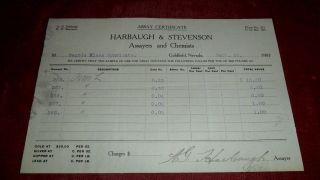 1907 Harbaugh & Stevenson Assayers & Chemists - Assay Certificate Goldfield 03 photo