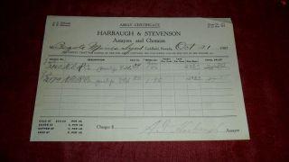 1907 Harbaugh & Stevenson Assayers & Chemists - Assay Certificate Goldfield 08 photo
