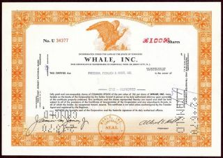 Whale Incorporated 100 Share Common Stock Certificate 1969 U 34377 photo